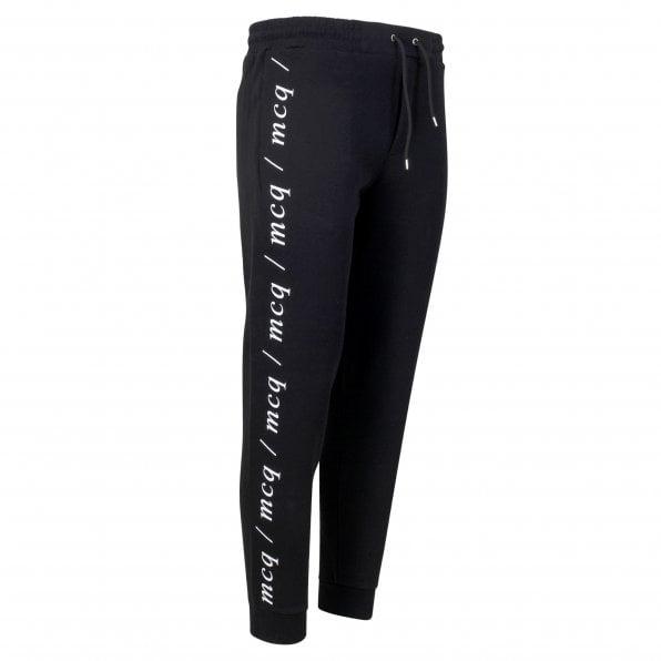 McQ ALEXANDER McQUEEN MCQ Black Text Logo Mens Dart Sweat Pant Track Bottoms