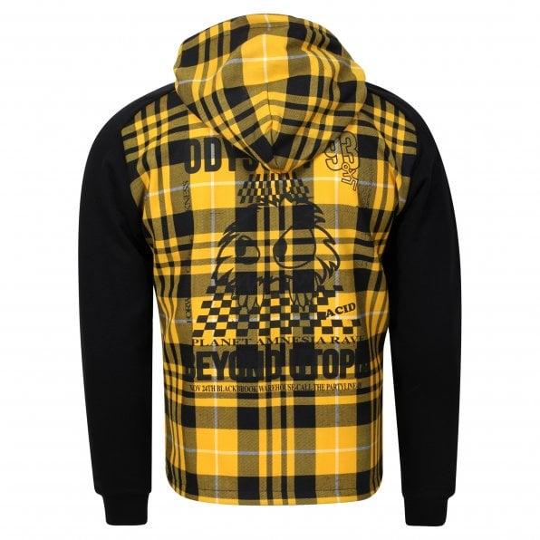 McQ ALEXANDER McQUEEN MCQ Mens Black and Yellow Gold Skater Hoody
