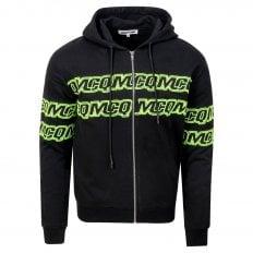 MCQ Mens Black Chestband Logo Zipped Hoody