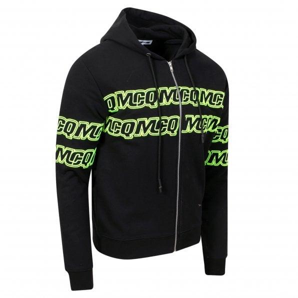 McQ ALEXANDER McQUEEN MCQ Mens Black Chestband Logo Zipped Hoody