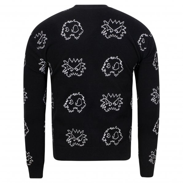 McQ ALEXANDER McQUEEN MCQ Mens Black Embroidered Pixel Monster Crew Neck Knitwear