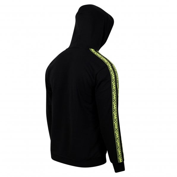 McQ ALEXANDER McQUEEN MCQ Mens Black Pullover Hoody with Logo Sleeve Tape