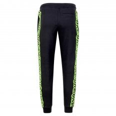 MCQ Mens Black Track Bottoms with Large Text Logo