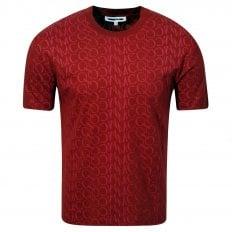 MCQ Mens Jacquard Logo Rust T Shirt
