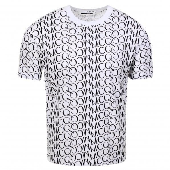 McQ ALEXANDER McQUEEN MCQ Mens Jacquard Logo White T Shirt