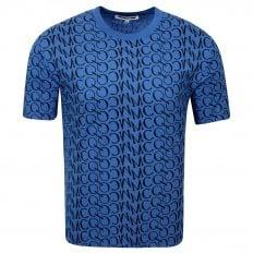 MCQ Mens Jacquard Logo Wire Blue T Shirt