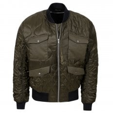 MCQ Mens Khaki Quilted Bomber Jacket