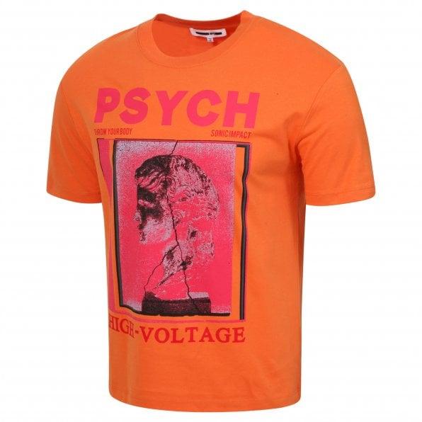 McQ ALEXANDER McQUEEN MCQ Mens Psych High Voltage Burnt Orange T Shirt
