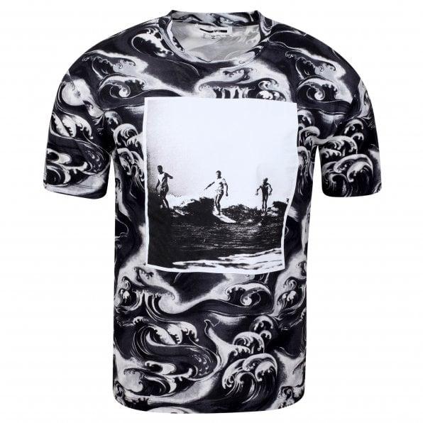 McQ ALEXANDER McQUEEN MCQ Mens Surf and Waves Black T Shirt