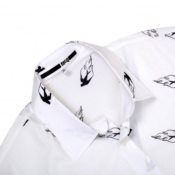 McQ ALEXANDER McQUEEN MCQ Mens White Sheehan printed swallows on fire Long Sleeve Shirt