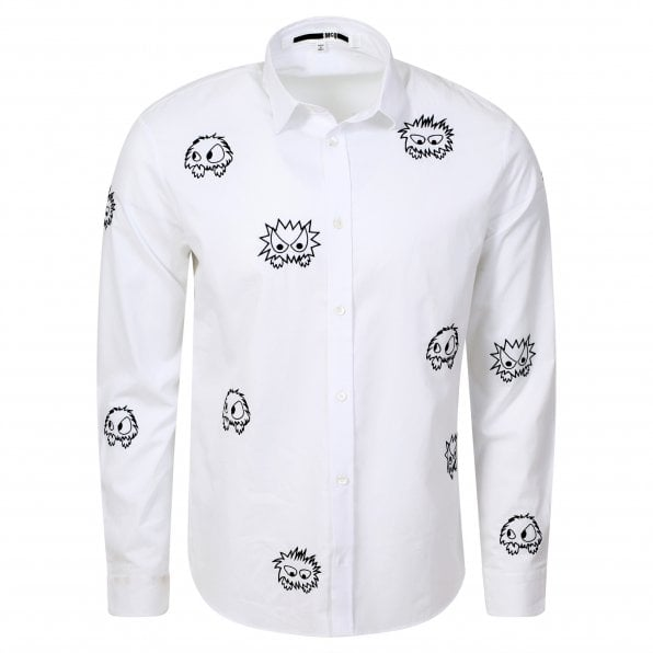 McQ ALEXANDER McQUEEN MCQ Mens White Shehan Embroidered Monster Long Sleeve Shirt