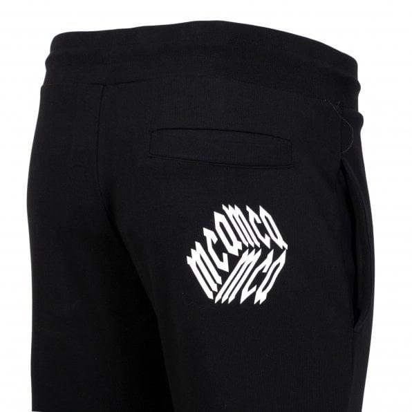 MCQ Black Mens Rib Sweat Pant Track Bottoms with Cube Logo