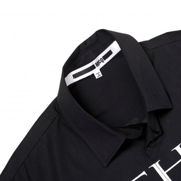 MCQ Mens Psych Over Print Long Sleeve Black Shirt
