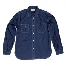 Mens 4.5-Ounce Cotton SC27077 Navy Blue Polka Dot Long Sleeve Work Shirt with Soft collar by Sugar Cane