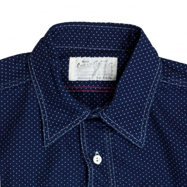 SUGAR CANE Mens 4.5-Ounce Cotton SC27077 Navy Blue Polka Dot Long Sleeve Work Shirt with Soft collar by Sugar Cane