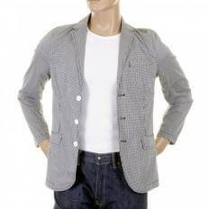 Mens Black And White Fine Check Slimmer Fit Cotton Lightweight Jacket