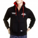 RMC MKWS Mens Black Hooded Zipped Regular Fit Sweatshirt with NYPD USA Eagle Print