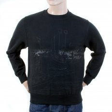 Mens Black Large Fitting Crew Neck Sweatshirt