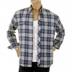 Mens Blue and White Check Button down Collar Long Sleeve Regular Fit Shirt