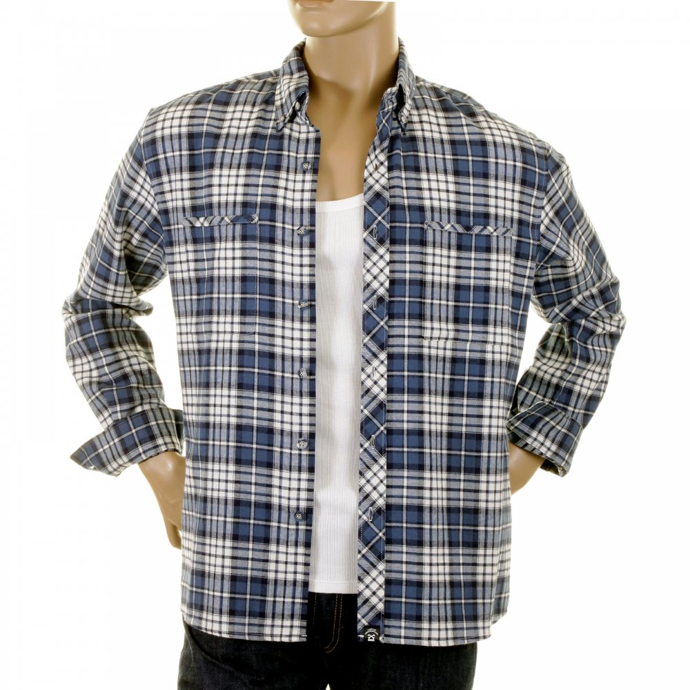 d51e653819da RMC MKWS Mens Blue and White Check Button down Collar Long Sleeve Regular  Fit Shirt