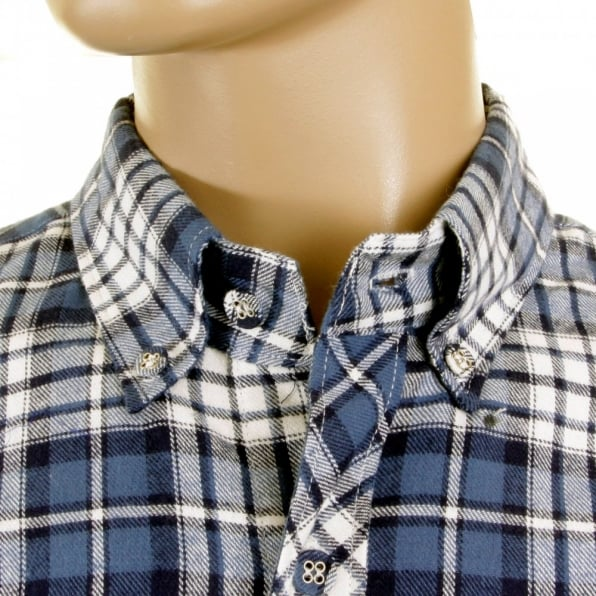 RMC MKWS Mens Blue and White Check Button down Collar Long Sleeve Regular Fit Shirt