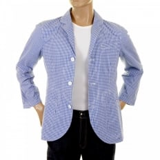 Mens Blue and White Small Check Cotton Lightweight Jacket