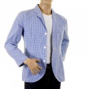 RMC MKWS Mens Blue and White Small Check Cotton Lightweight Jacket