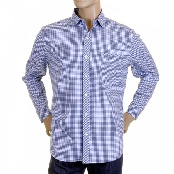 RMC MKWS Mens Blue Check Soft Penny Collar Long Sleeve Regular Fit Shirt