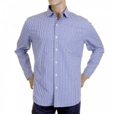 Mens Blue Check Soft Penny Collar Long Sleeve Regular Fit Shirt