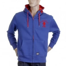 Mens Blue Empire Hooded Zipped Regular Fit Sweatshirt