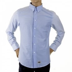 Mens Blue Striped Button Down Collar Long Sleeve Regular Fit Shirt
