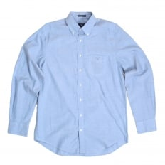 Mens Blue Washed Pinpoint Oxford Regular Fit Cotton Casual Shirt with Button Down Collar by Gant GANT6200
