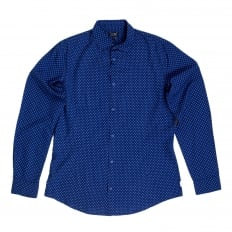Mens Blue Woven Cotton Long Sleeve Extra Slim Fit Shirt with White Polka Dots by Armani Jeans AJM5991