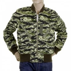 Mens Camouflage Green Zip Up Regular Fit Bomber Jacket