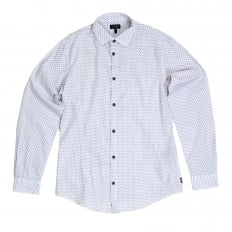 Mens Casual Extra Slim Fit Long Sleeve White Woven Cotton Shirt with Blue Polka Dots by Armani Jeans AJM5992