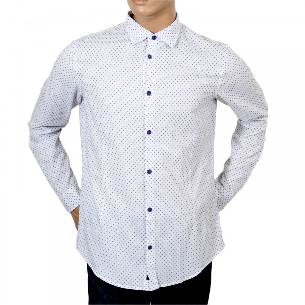 Armani Jeans Extra Slim Fit Casual Mens Polka Dot Shirt