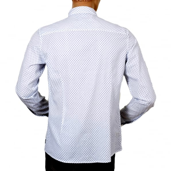 ARMANI JEANS Mens Casual Extra Slim Fit Long Sleeve White Woven Cotton Shirt with Blue Polka Dots by Armani Jeans AJM5992