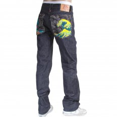 Mens Cotton Slim Cut Japanese Indigo Selvedge Raw Denim Jeans with Multi-coloured Embroidered Large Tsunami Waves