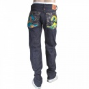 RMC JEANS Mens Cotton Slim Cut Japanese Indigo Selvedge Raw Denim Jeans with Multi-coloured Embroidered Large Tsunami Waves