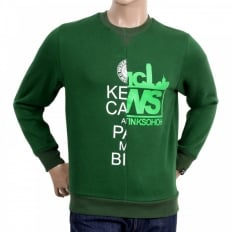 Mens Custom Made Green Crew Neck Cotton Sweatshirt with Mixed Printed Logo