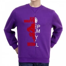 Mens Custom Made Large Fitting Cotton Purple Sweatshirt with Crew Neck