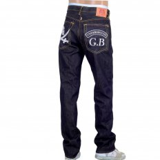 Mens Dark Indigo Raw Denim Japanese Selvedge Jean with Skull Underground GB Embroidery