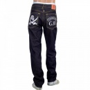 RMC JEANS Mens Dark Indigo Raw Denim Japanese Selvedge Jean with Skull Underground GB Embroidery
