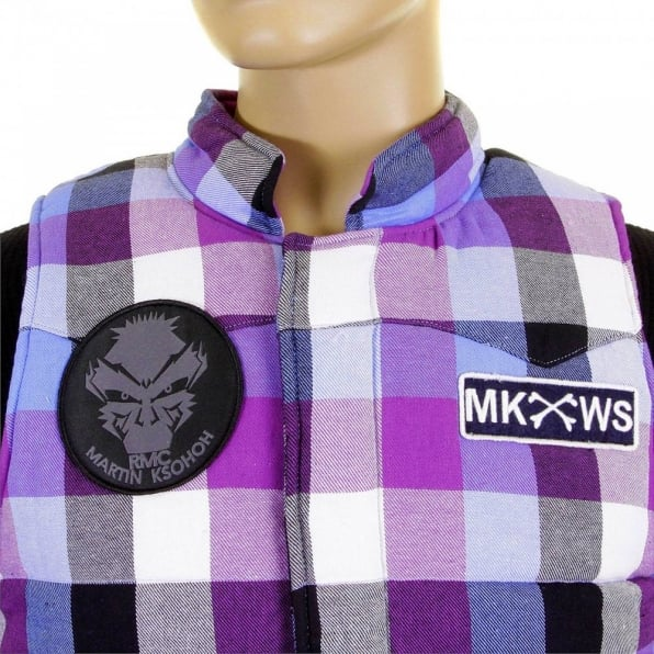 RMC MKWS Mens Down Filled Purple and Blue Check Regular Fit Padded Gilet