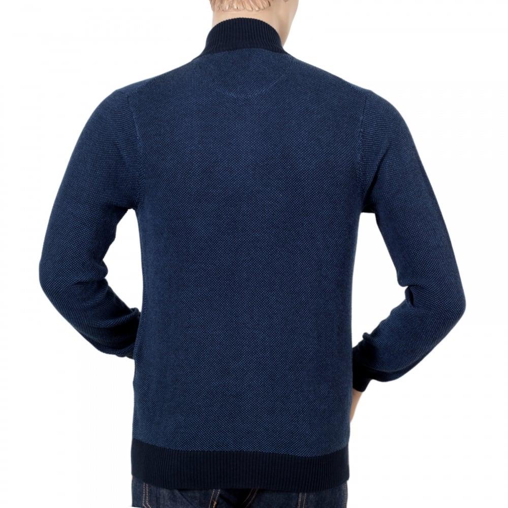 Gant Cotton Textured Half-Zip Men/'s Jumper Blue