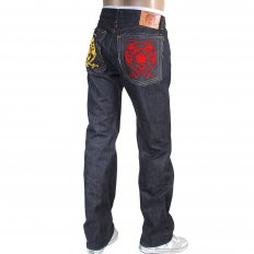 Mens Hand Embroidered Japanese Indigo Selvedge Raw Denim Jeans