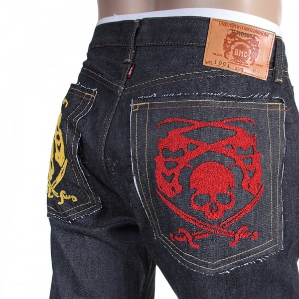 RMC JEANS Mens Hand Embroidered Japanese Indigo Selvedge Raw Denim Jeans
