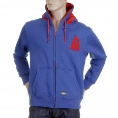 Mens Hooded Zipped Regular Fit Sweatshirt in Royal Blue