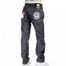 RMC JEANS Mens Indigo Raw Japanese Selvedge Denim Jean with Embroidered Monster Rider