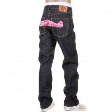 Mens Indigo Slim Fit Raw Denim Jeans with Super Exclusive Pink Camo Plane Design